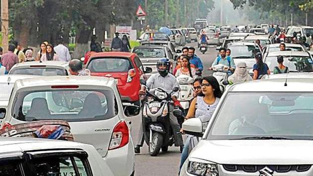 Panjab University will be restricting entry of vehicles in academic areas from Friday.(HT File)