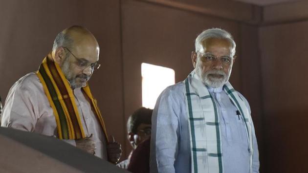 Prime Minister Narendra Modi and BJP president Amit Shah at the BJP headquarters.(Vipin Kumar/HT File Photo)