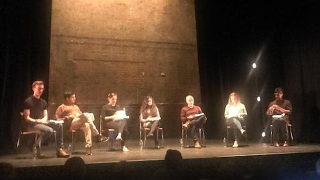 A reading of Hanif Kureishi's major play Borderline staged at the Royal Court Theatre in London on Thursday.(HT Photo)