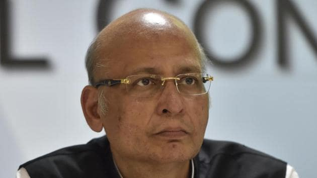 Congress leader Abhishek Manu Singhvi alleges that the social media hub will create detailed profiles of the people by collecting intimate, personal details from social media accounts and emails.(Sonu Mehta/HT Photo)