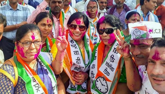 NCP workers celebrate their party's success in Bhandara–Gondiya Lok Sabha by-elections in Bhandara district of Maharashtra on Thursday.(PTI)