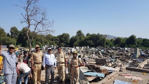The demolitions underway in Vikhroli.(HT PHOTO)