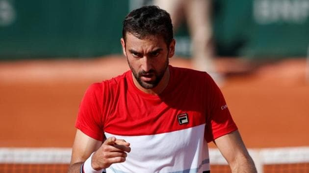 Croatia's Marin Cilic reacts during his third round match at French Open against Steve Johnson.(REUTERS)