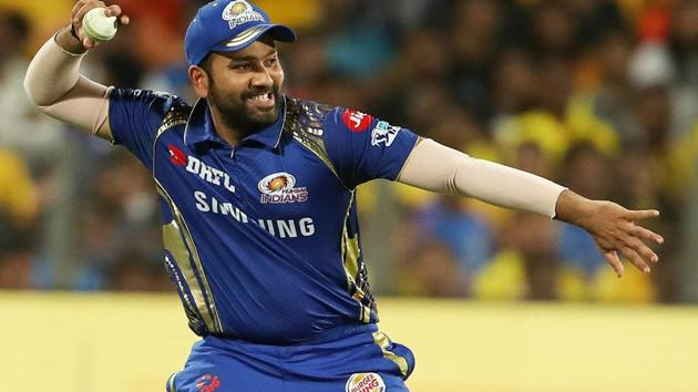 Rohit Sharma was invited to throw the first pitch for Seattle Mariners in the Major League Baseball (MLB).(PTI)
