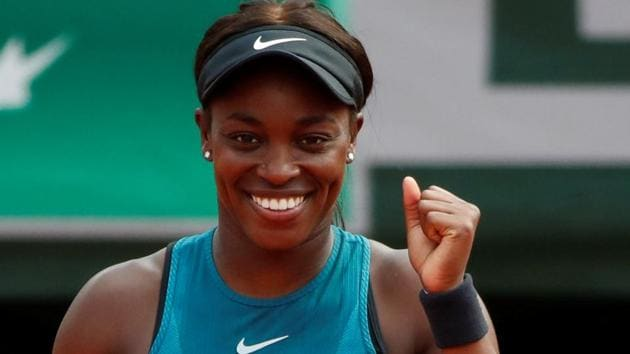 Sloane Stephens celebrates after winning her French Open fourth round match against Estonia's Anett Kontaveit.(REUTERS)