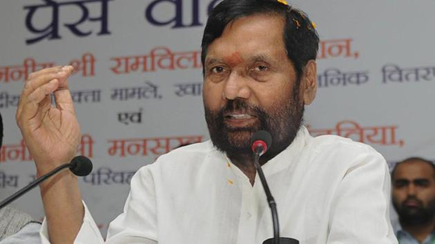 Union Consumer Affairs, Food and Public Distribution Minister Ram Vilas Paswan addresses a press conference on completion of 4 years of the NDA government, in Ranchi on June 1, 2018.(PTI File Photo)