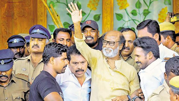 Actor-turned-politician Rajinikanth waves at supporters as he comes out of a government hospital after visiting those who got injured during police firing, Thoothukudi, May 30, 2018(PTI)