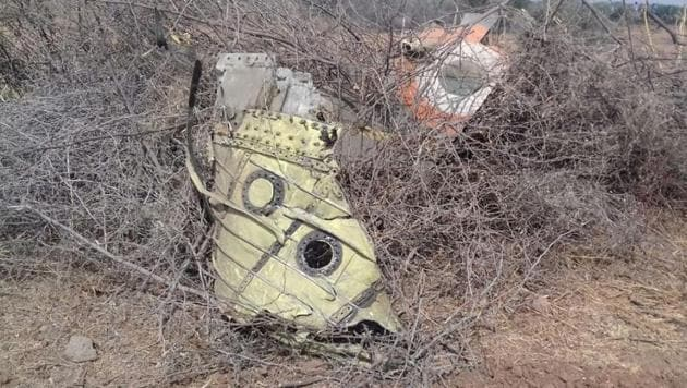The remains of the crashed fighter jet in Mundra.(ANI/Twitter)