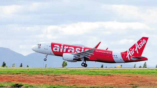 A static display of the AirAsia flight bangalore to goa. Photographed on 12 June 2014 by Jagadeesh NV/ Mint