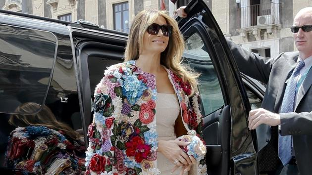 US first lady Melania Trump steps out of a car as she arrives at Chierici Palace, part of a visit of the G7 first ladies in Catania, Italy. Melania Trump won't be joining her husband at the 2018 G7 summit in Quebec or accompanying him to the meeting planned with North Korea's leader in Singapore following the G7.(AP File Photo)