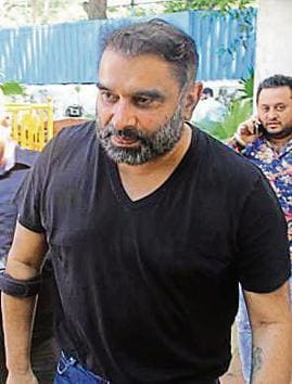 Parag Sanghvi at the Thane anti-extortion cell office on Wednesday.(Praful Gangurde/ Hindustan Times)
