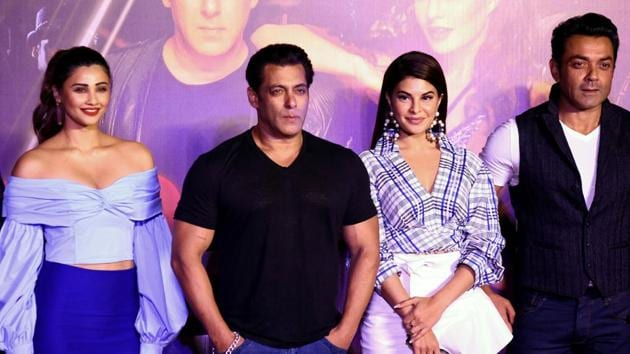 Bollywood actors (L-R) Daisy Shah, Salman Khan, Jacqueline Fernandez and Bobby Deol pose for a picture during the music launch of Race 3.(AFP)