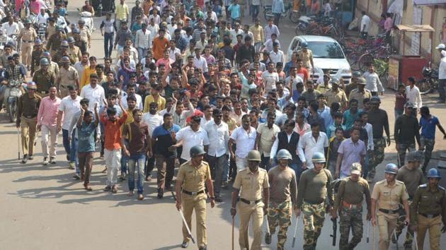 A group of Dalits take part in a protest rally during the Maharashtra bandh called over the Bhima Koregaon violence, in Karad, Maharashtra.(HT FILE PHOTO)