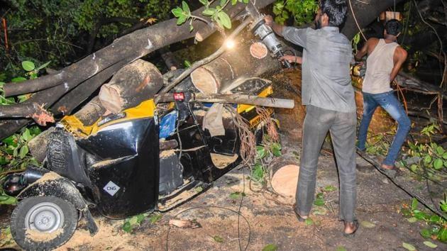 A huge tree fell on an autorickshaw on Paud road near More Vidyalaya in Pune on Wednesday.(Sanket Wankhade/HT PHOTO)