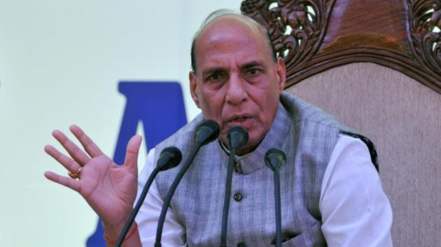 Union home minister Rajnath Singh said youth from border areas will get 60% reservation in five Indian Reserve Police battalions.(HT/Nitin Kanotra)