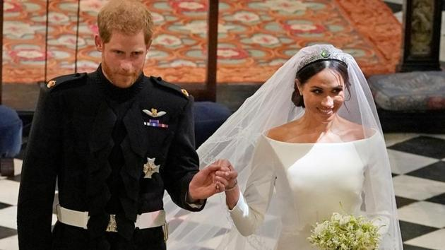 Prince Harry and Meghan Markle in St George's Chapel at Windsor Castle during their wedding service.(REUTERS)