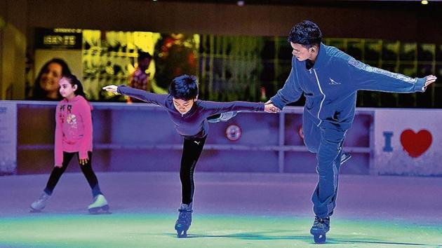 Ice-skating is also a popular activity with Gurugram kids on their holidays.(Sanjeev Verma/HT File Photo)