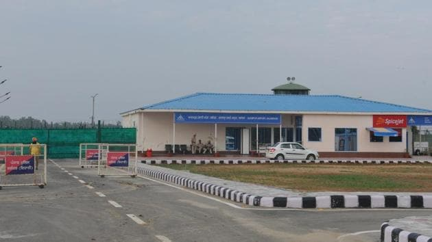 The first domestic flight from the airport, functioning from a temporary building in the premises of the Adampur Airforce base station, took off on Labour Day on May 1.(Pardeep Pandit/HT)