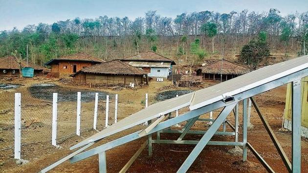 The adivasi village of Manachamba in Maharashtra, hooked to a solar microgrid since January 2018.(Gayatri Jayaraman/HT Photo)