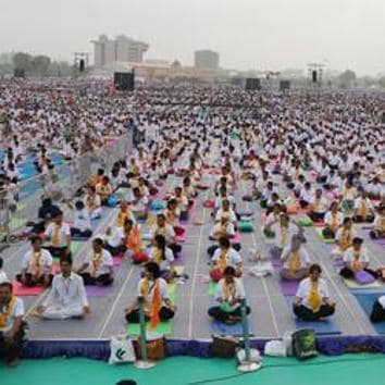 Prime Minister Narendra Modi will lead the international yoga day main event at the sprawling Forest Research Institute ground in Dehradun on June 21.(HT File Photo)