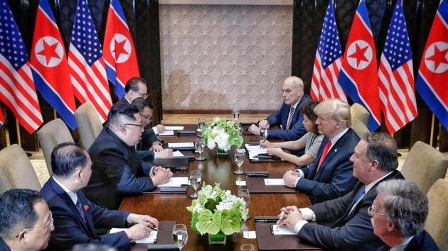 US President Donald Trump meets with North Korean leader Kim Jong Un at the Capella Hotel on Sentosa island in Singapore June 12, 2018.(REUTERS Photo)