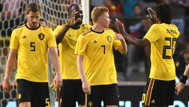 Belgium's forward Romelu Lukaku (2L) celebrates with teammates after scoring a goal during the international friendly football match between Belgium and Costa Rica at the King Baudouin Stadium in Brussels on June 11, 2018.(AFP)