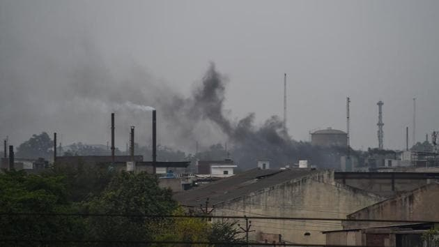 In this photograph taken on May 31, 2018, smoke rises from chimneys in an industrial area in Kanpur.(AFP File Photo)