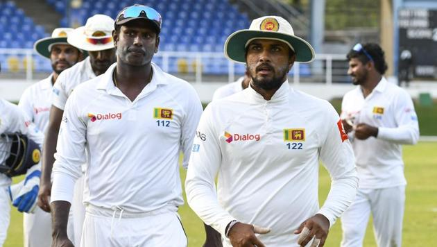 Angelo Mathews (L) will miss the second Test vs West Indies, as will Lahiru Gamage (not pictured).(AFP)