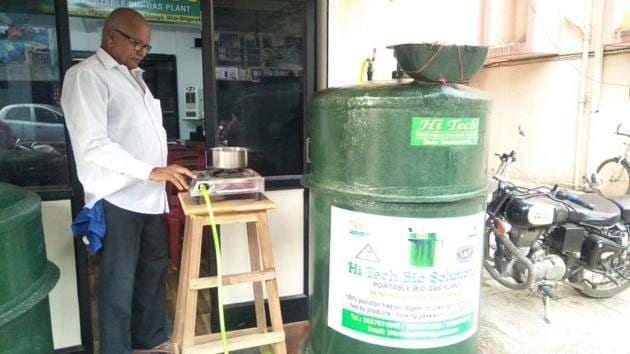 Rajagolapan Nair with his biogas plant. The plant received ISO certification on May 22.(HT)