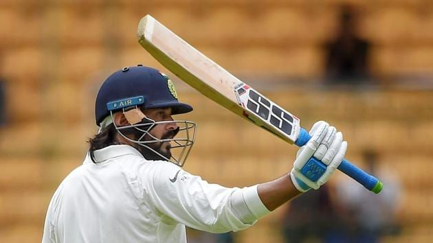 Murali Vijay notched up his 12th century as India dominated Afghanistan in the one-off Test in Bangalore.(PTI)