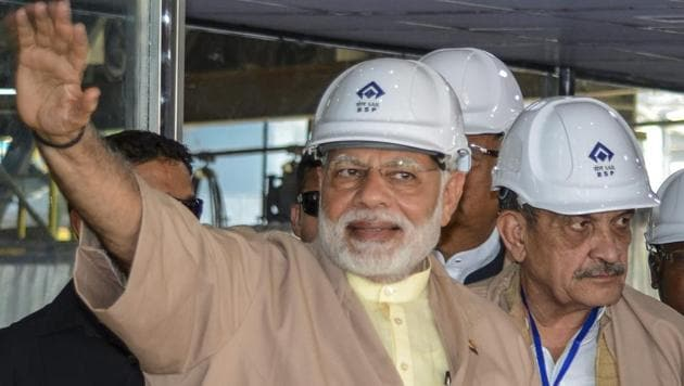 Prime Minister Narendra Modi at the Bhilai Steel Plant in Chhattisgarh on June 14, 2018. During his interaction with traders and shopkeepers, Modi urged them to use the Bhim app for digital payments.(PTI)