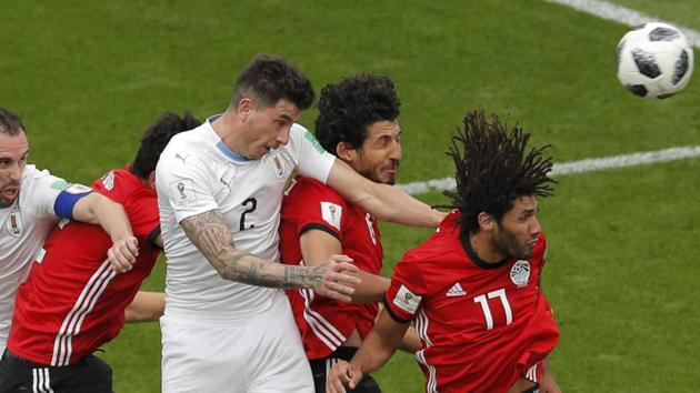 Get highlights of the FIFA World Cup 2018 Group A match between Egypt and Uruguay here. Jose Gimenez's late header gives Uruguay all three points.(AP)