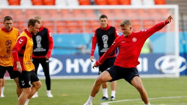 Denmark team trains before their match against Peru in the FIFA World Cup 2018.(REUTERS)