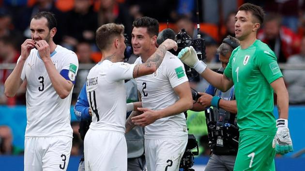 Jose Gimenez (2R) celebrates with his Uruguay teammates after scoring against Egypt in their FIFA World Cup 2018 clash on Friday.(REUTERS)