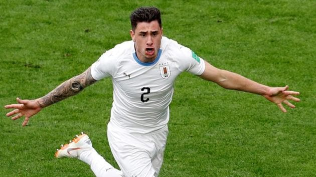 Uruguay's Jose Gimenez celebrates scoring the only goal of the game against Egypt in the FIFA World Cup 2018.(REUTERS)