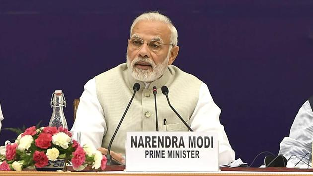 Prime Minister Narendra Modi at the fourth meeting of the governing council of NITI Aayog, in New Delhi on Sunday.(PTI)