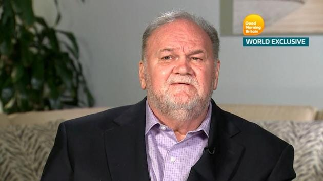 Thomas Markle, Meghan Markle's father, is seen in a still taken from video as he gives an interview to ITV's Good Morning Britain program which is broadcast from London, Britain on June 18.(REUTERS)