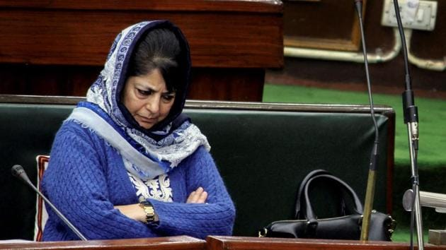 Mehbooba Mufti during a Budget session of the Jammu and Kashmir Legislative Assembly in Jammu in January 2017. Mehbooba resigned as the state's chief minister on Tuesday after the BJP pulled out the alliance with her Peoples Democratic Party.(PTI File Phptp)