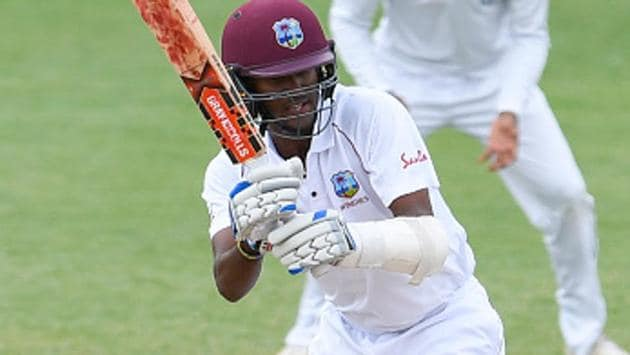 Kraigg Brathwaite in action during Day 5 of the second Test between West Indies and Sri Lanka in St Lucia on Monday.(AFP/Getty Images)