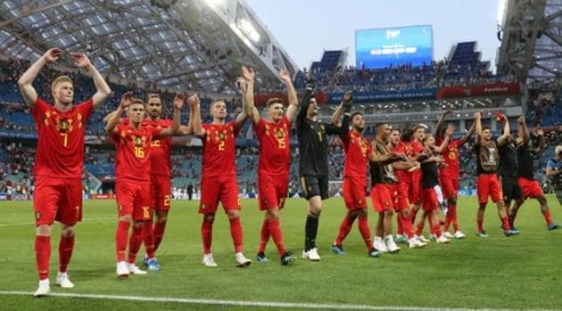 Belgium players celebrate after defeating Panama in a FIFA World Cup 2018 match.(REUTERS)