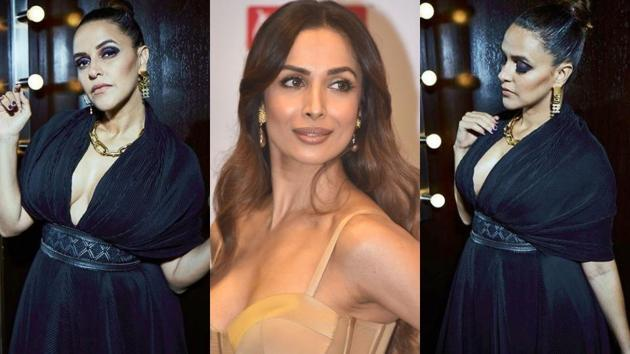 Malaika Arora and Neha Dhupia impressed with their plunging neckline gowns. See their looks below. (Instagram)