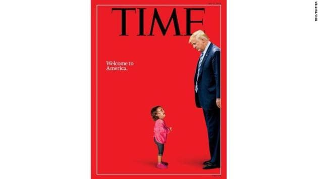 The powerful original photograph, taken at the scene of a border detention by Getty Images photographer John Moore, became one of the iconic images in the flurry of media coverage about the separation of families.(Time Magazine/Getty Images)