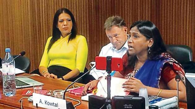 All India Dalit Mahila Adhikar Manch general secretary Asha Kotwal (right) at the United Nations Human Rights Council meeting.(HT Photo)
