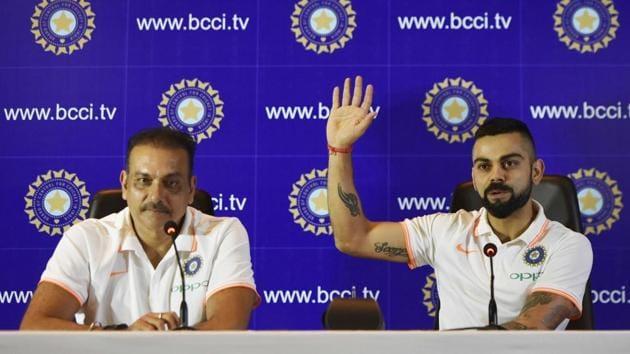 Indian cricket team captain Virat Kohli, right, and head coach Ravi Shastri address the media ahead of the team's travel to England and Ireland on Friday.(Vipin Kumar / HT Photo)