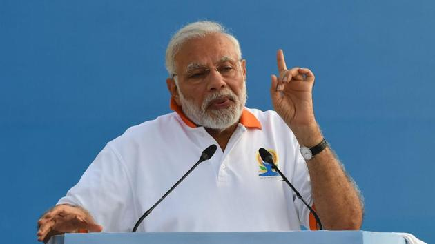 Prime Minister Narendra Modi laid the foundation stone of a new office complex of the commerce ministry in New Delhi on Friday.(AFP)