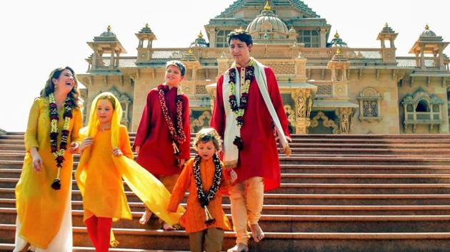 Canadian Prime Minister Justin Trudeau along with his family members visit Swaminarayan Akshardham Temple in Gandhinagar on February 19, 2018.(PTI File Photo)