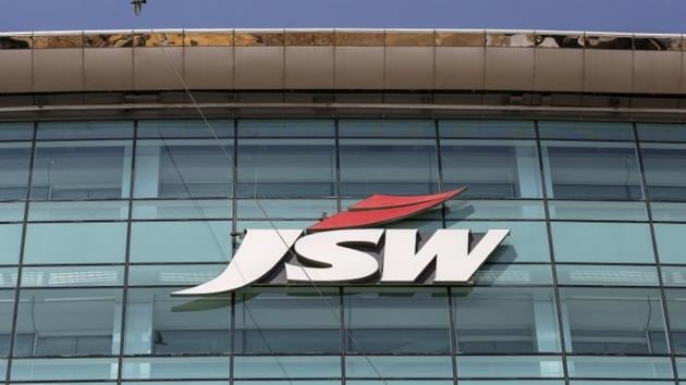 The logo of JSW is seen on the company's headquarters in Mumbai.(Reuters File Photo)