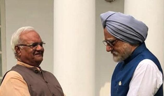 Ram Avatar Bhardawaj and Anupam Kher in a still from The Accidental Prime Minister.