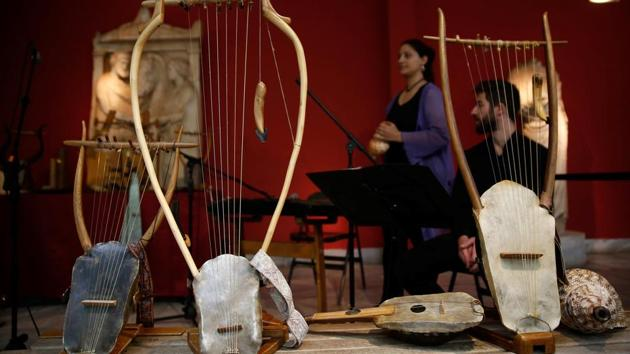 Reconstructed ancient instruments are seen at the National Archaeological Museum before a concert in Athens, Greece.(REUTERS)