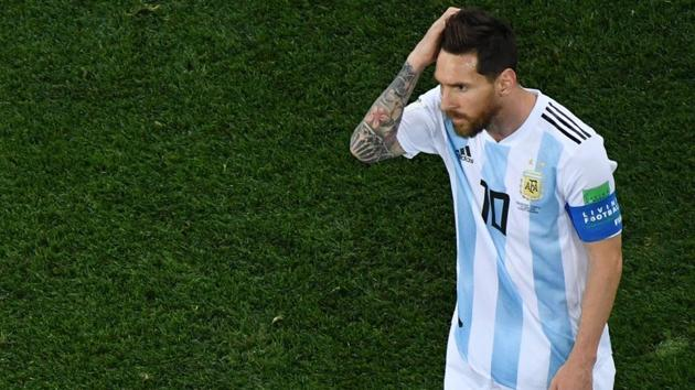 Argentina's forward Lionel Messi reacts during the FIFA World Cup 2018 Group D football match between Argentina and Croatia at the Nizhny Novgorod Stadium in Nizhny Novgorod on June 21, 2018.(AFP)